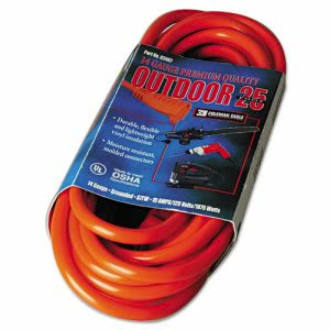 Cci Vinyl Outdoor Extension Cord, 25 Ft, 15 Amp, Red (COC02407)
