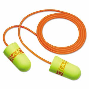 3m E·A·Rsoft SuperFit Single-Use Earplugs, Corded, Yellow/Red (MMM3111254)