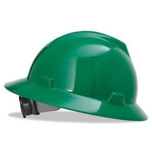 MSA V-Gard Hard Hats w/Fas-Trac Ratchet Suspension, Standard Size 6 1/2 - 8, Green (MSA 475370)