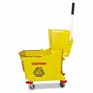Magnolia Brush Mop Bucket/Wringer Combo, Plastic, Yellow MNL60353