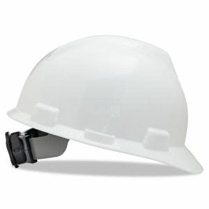 MSA V-Gard Hard Hats w/Ratchet Suspension, Size 6 1/2 - 8, White (MSA 475358)