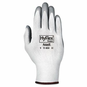 AnsellPro HyFlex Foam Gloves, White/Gray, Medium, 12 Pairs (ANS 11800-8)