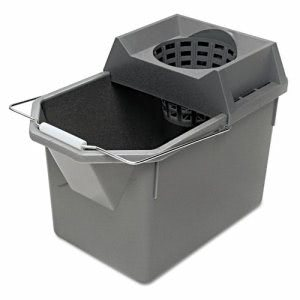 Rubbermaid 6194 Mop Pail & Strainer, Steel Gray RCP6194STL