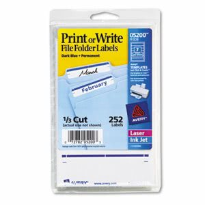 Avery File Folder Labels, 1/3 Cut, White/Dark Blue Bar, 252 Labels (AVE05200)