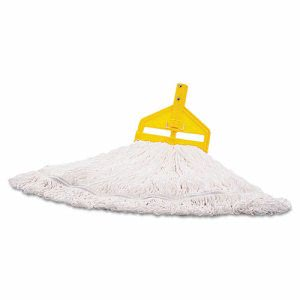 Rubbermaid Commercial Finish Mop Heads, Nylon, White, Medium, 6 Mops (RCPT20006)