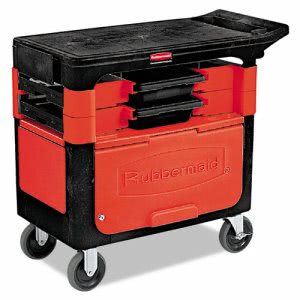 Rubbermaid 6180-88 Trades Cart with Locking Cabinet, Black (RCP 6180-88 BLA)