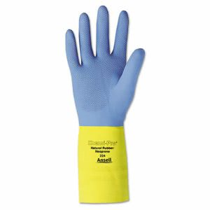Ansell Chemi-Pro Neoprene Gloves, Blue/Yellow, XL, 12 Pairs (ANS 224-10)