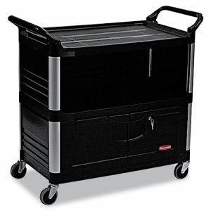 Rubbermaid 4095 Equipment Cart, Lockable Enclosed Shelf, Black (RCP 4095 BLA)