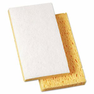 "Boardwalk Light-Duty Scrubbing Sponge, 7/10"" Thick, Yellow/White (BWK16320)"