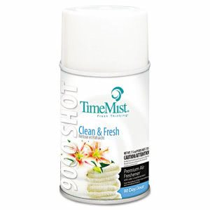 Timemist 9000 Air Fresheners, Clean N' Fresh, 7.5oz, 4 Cans (TMS1042637)