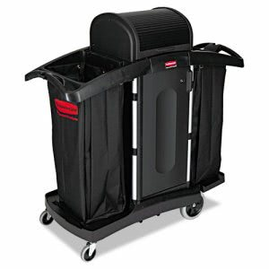 Rubbermaid 9T78 High Security Housekeeping Cart w/ Locking Hood, Blk (RCP 9T78)