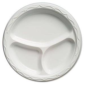 "Aristocrat 10-1/4"" 3 Compartment Plastic Plate, 500 Plates (GNP71300)"