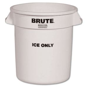 Rubbermaid Commercial Brute Ice-Only Container, 10gal, White (RCP9F86WHI)