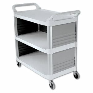 Rubbermaid Xtra Utility Cart, 3-Shelf, 3 Panel Enclosed, Off-White (RCP4093CRE)