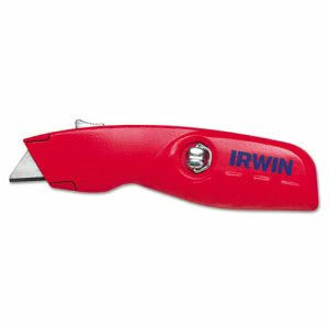 Irwin Self-Retracting Safety Knife, 1 Retractable Blade, Red/Silver (IRW2088600)