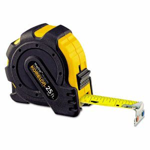 "Komelon Tape Measure, 1"" x 25', Metal Case, Black/Yellow, 1/16"" Grad. (KOM7425)"