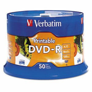 Verbatim DVD-R Disc, 4.7 GB, 16x, White, 50/Pk (VER95137)