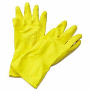 Boardwalk Flock-Lined Latex Cleaning Gloves, XL, Yellow, 12 Pair (BWK242XL)