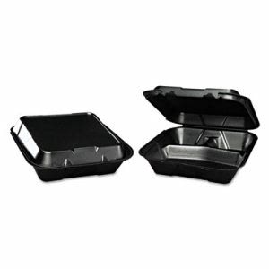 3 Compartment Foam Hinged Black Containers, 200 Containers (GNP SN203BK)