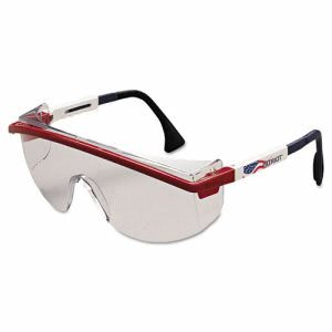 Uvex Astrospec 3000 Safety Glasses, Red/White/Blue Frame, Clear Lens (UVXS1169)