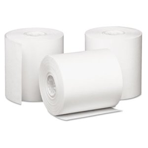 PM Company Single-Ply Cash Register/POS Rolls, White, 50 Rolls (PMC09228)