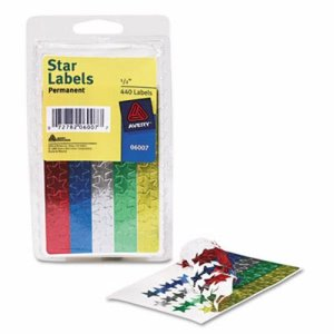 Avery Self-Adhesive Assorted Color Foil Stars, 1/2w, 440/Pack (AVE06007)