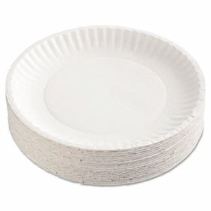 "Green Label 9"" Uncoated Paper Plates, 1,200 Plates (AJM PP9GRAWH)"
