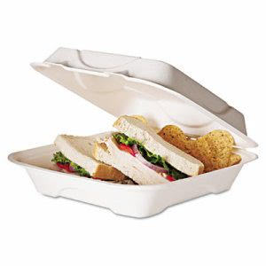 Eco-Products Compostable Clamshell Food Container, 200 Containers (ECOEPHC91)