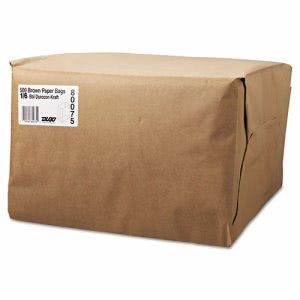 1/6 - 52 lb. Brown Kraft Paper Grocery Bags, 500 Bags (BAG SK1652)