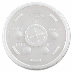 Plastic Straw Slot Lids for 10-oz. Foam Cups, 1,000 Lids (DCC 10SL)