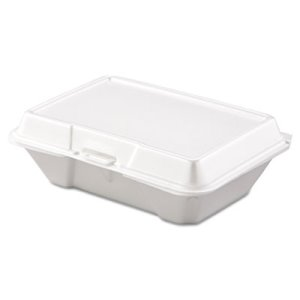 Single Compartment Foam Hinged Containers, 200 Containers (DCC 205HT1)