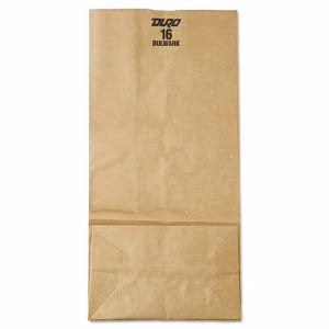 General Paper #16 Grocery Bags, 57 lb Weight, Brown Kraft, 500 Bags  (BAG GX16)