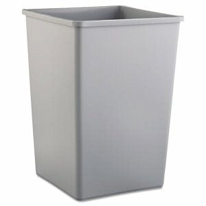 Rubbermaid 3958 Untouchable Square Trash Can, 35 Gallon, Gray (RCP3958GRA)