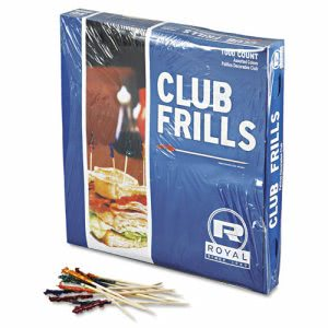 Wooden Frill Toothpicks, 4in Club, 1000 Toothpicks (RPP R812W)