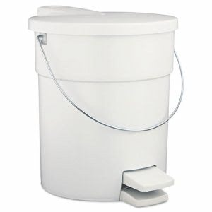 Rubbermaid 6142 Medical Waste Step-On Trash Can, White (RCP 6142 WHI)