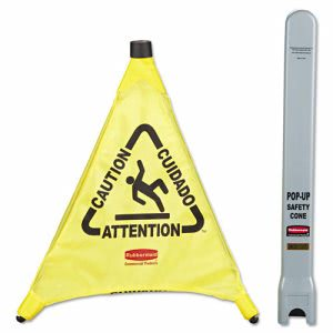 "Rubbermaid 9S00 Multilingual ""Caution"" Pop-Up Safety Cone, Yellow (RCP9S00YEL)"