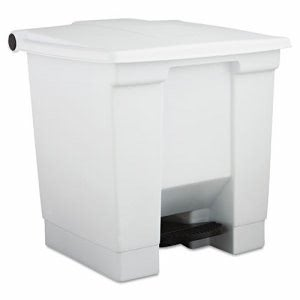 Rubbermaid 6143 8 Gallon Step-On Plastic Waste Container, White (RCP 6143 WHI)
