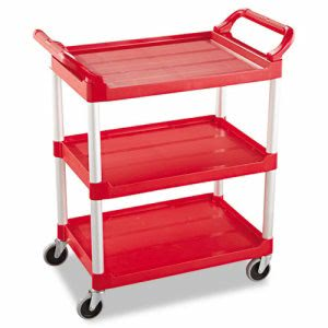 Rubbermaid 342488 Service Cart With 3 Shelves, Red (RCP342488RED)