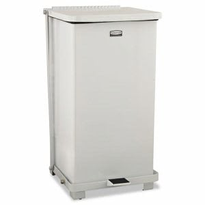 Rubbermaid ST12ERBWHI Defenders 12 Gallon Step-On Can, White (RCPST12ERBWHI)