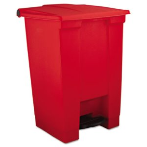 Rubbermaid 6144 Step-On 12 Gallon Plastic Waste Can, Red (RCP 6144 RED)