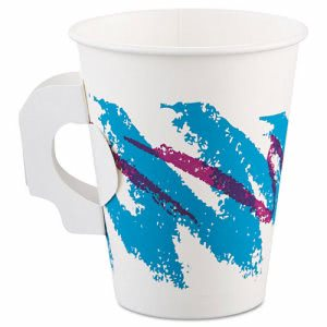 8-oz. Jazz Design Paper Hot Cups with Handle, 1000 Cups  (SCC 378HJZJ)