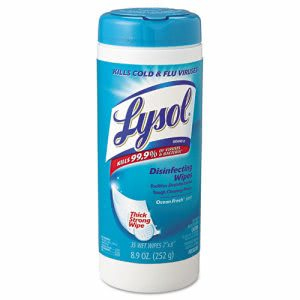 Lysol 81146 Disinfecting Wipes, Ocean Fresh Scent, 12 Canisters (REC 81146)
