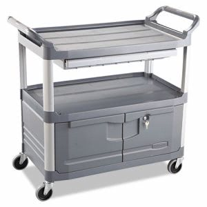 Rubbermaid 4094 Instrument Cart w/ Lockable Doors and Drawers (RCP 4094 GRA)
