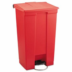 Rubbermaid 6146 Step-On Mobile 23 Gallon Waste Container, Red (RCP 6146 RED)