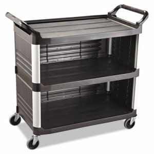 Rubbermaid 3-Shelf Utility Cart Enclosed On 3 Sided, Black (RCP 4093 BLA)