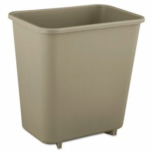 Rubbermaid 2952 Deskside 2 Gallon Plastic Wastebasket, Beige (RCP2952BEI)