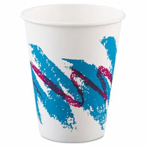 Solo Cup Hot Paper Cups, 8oz, Polycoated, Jazz Design, 50 per Bag (SCC378JZJ)