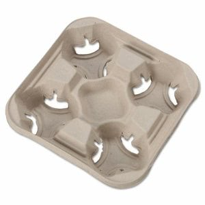 Strongholder®/Chinet® Cup Holder Tray, 8-1/2w x 8-1/2d x 1-3/4h, Beige (HUH FLIGHT)