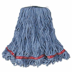 Rubbermaid Web Foot Looped-End Mop Head, Cotton, Med, Blu, 6/CT (RCPA11206)