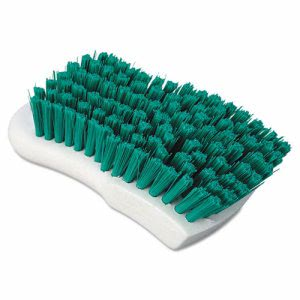 "Boardwalk Green Polypropylene Bristle Scrub Brush, 6"", White Handle (BWKFSCBGRN)"